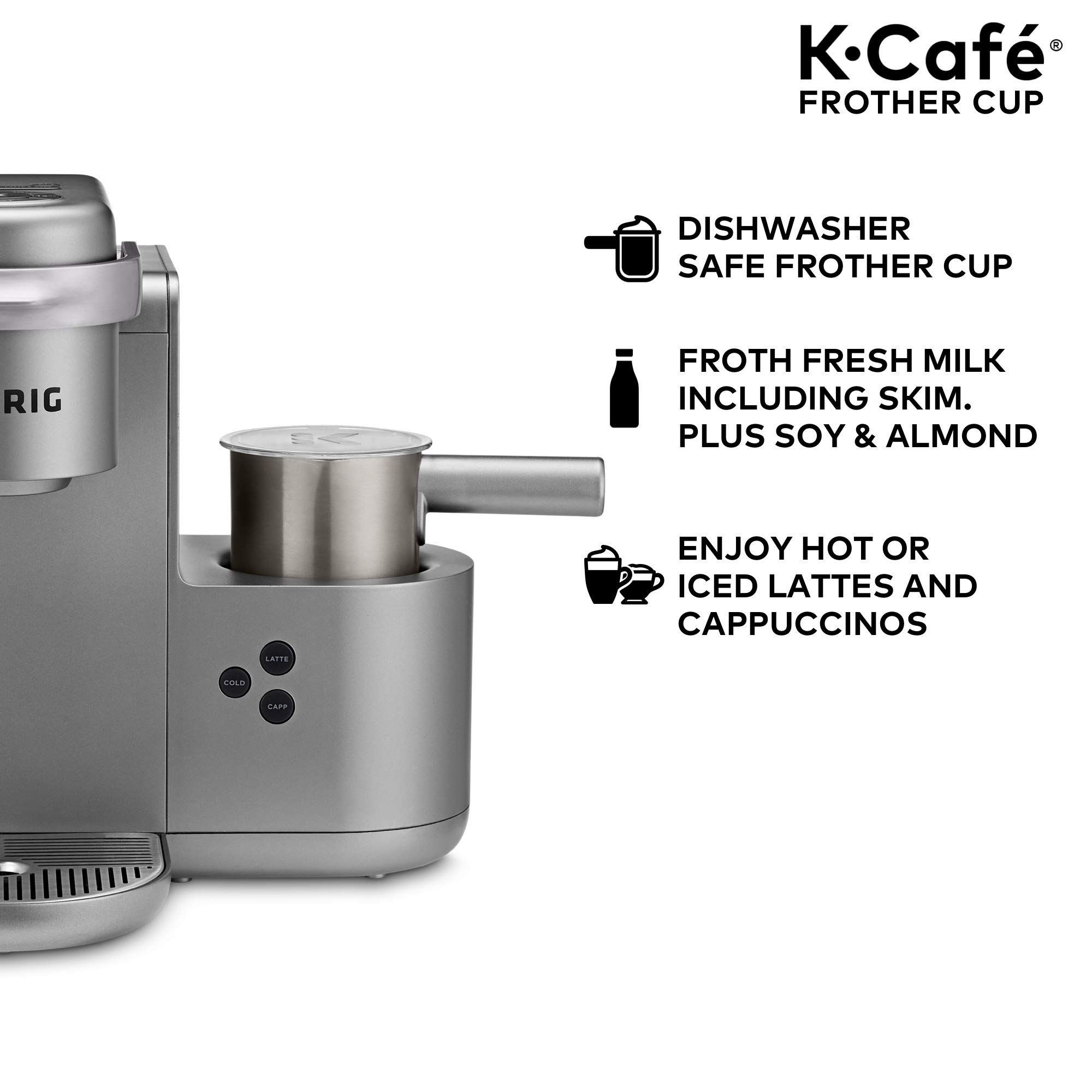 Keurig K-Café Milk Frother, Works with all Dairy and Non-Dairy Milk, Hot and Cold Frothing, Compatible with Keurig K-Café Coffee Makers Only, Nickel by Keurig (Image #5)