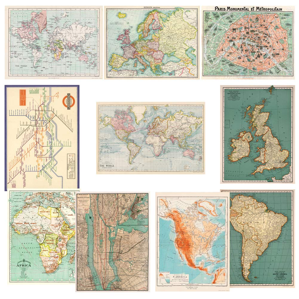 Monolike Vintage Poster and Wrapping Paper, World map Design 10 Sheets by Monolike