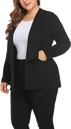 IN'VOLAND Women's Plus Size Shawl Lapel Open Front Solid Zipper Pocket Casual OL Blazer Jacket Suits