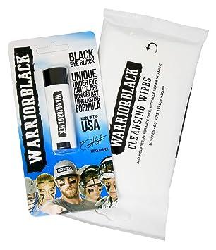 Warriorblack Eyeblack – ojo negro Stick y toallitas de limpieza Set
