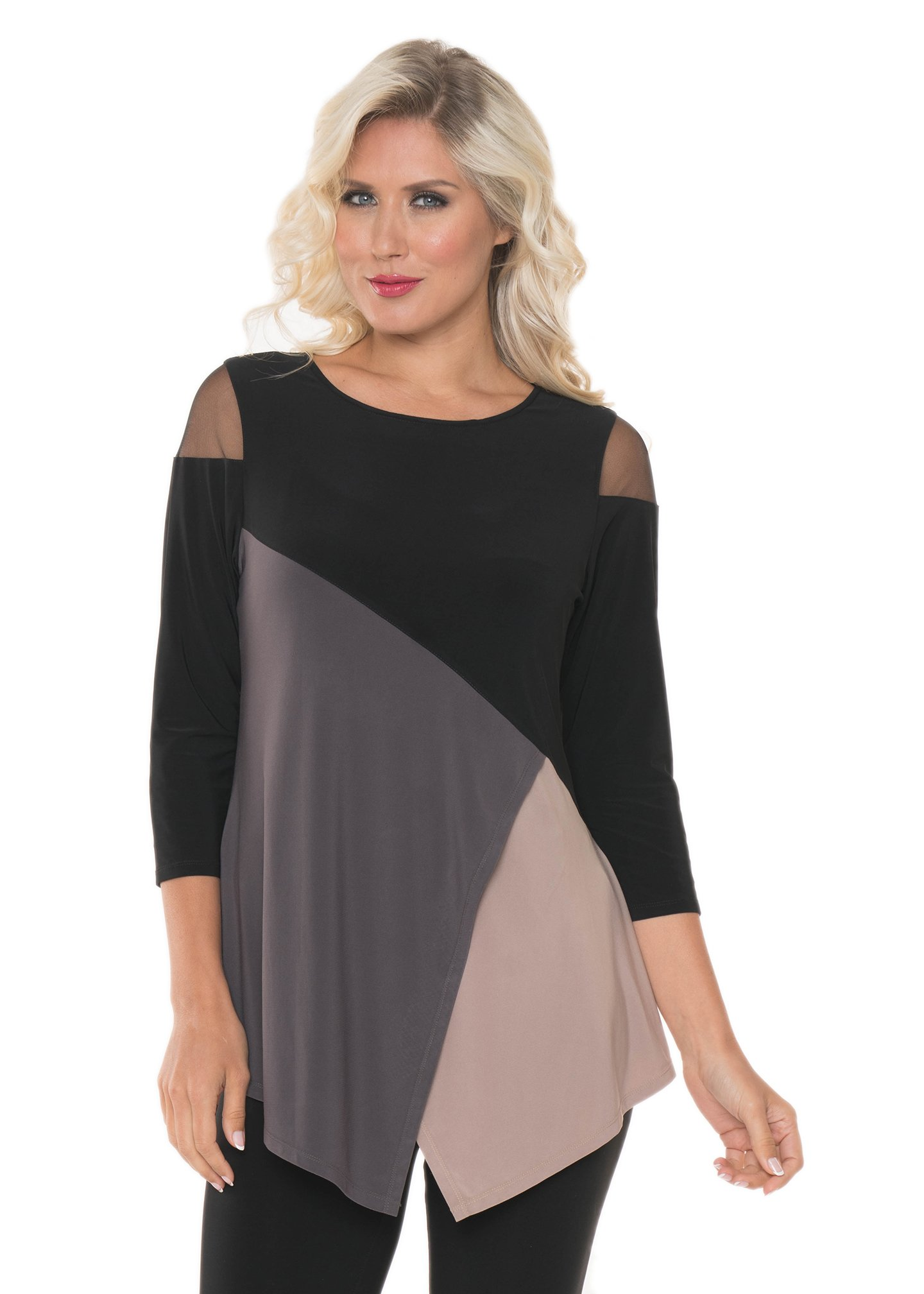 Lior Paris Women's Black Nude & Grey Tunic with Peep Hole Cold Shoulder Mesh Three Quarter Sleeve Round Neck