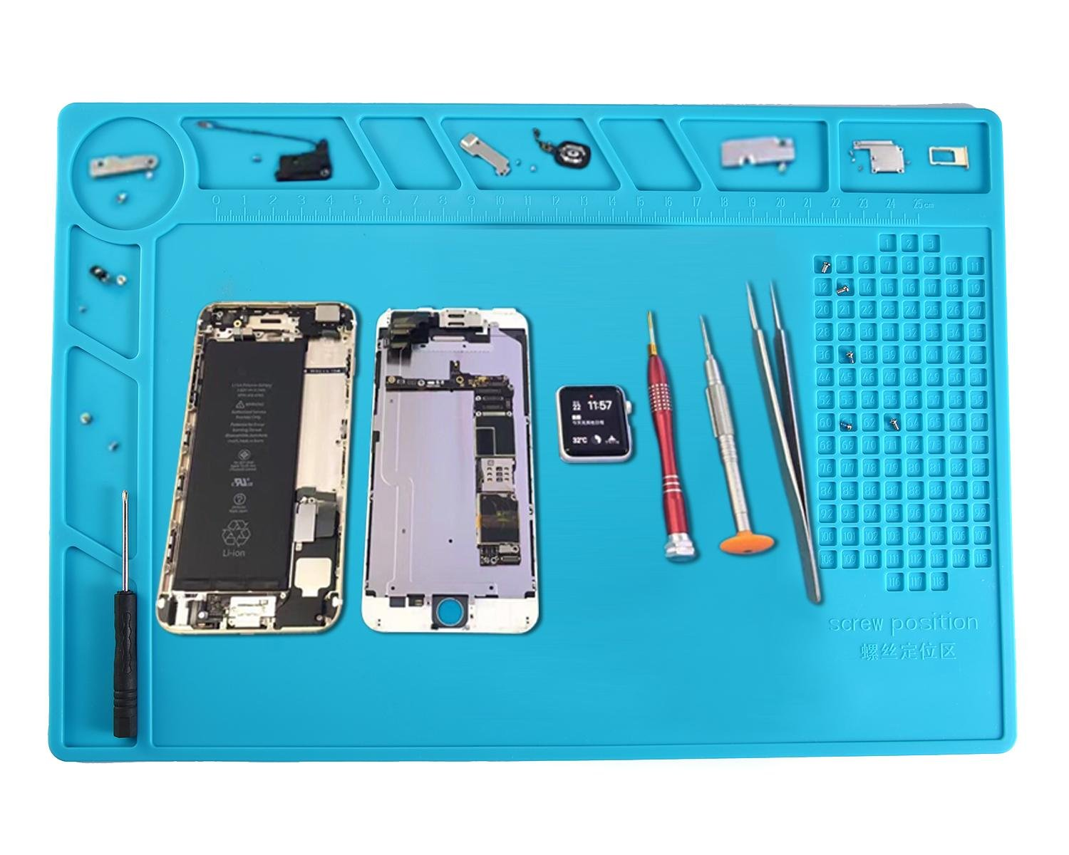 Leegoal(TM) Heat Insulation Silicone Pad Desk Mat Soldering Repair Station Maintenance Platform for for Soldering Iron, Repairing Phone Computer, and More,Blue
