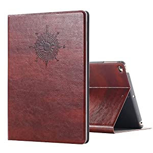 iPad Air Vintage Brown BOOK Type Leather Case Flip Cover, Miniko(TM) Modern Vintage Book Style Case for iPad Air Premium PU Leather Smart Case Auto Sleep Wake Slim Fit Multi Angle Stand