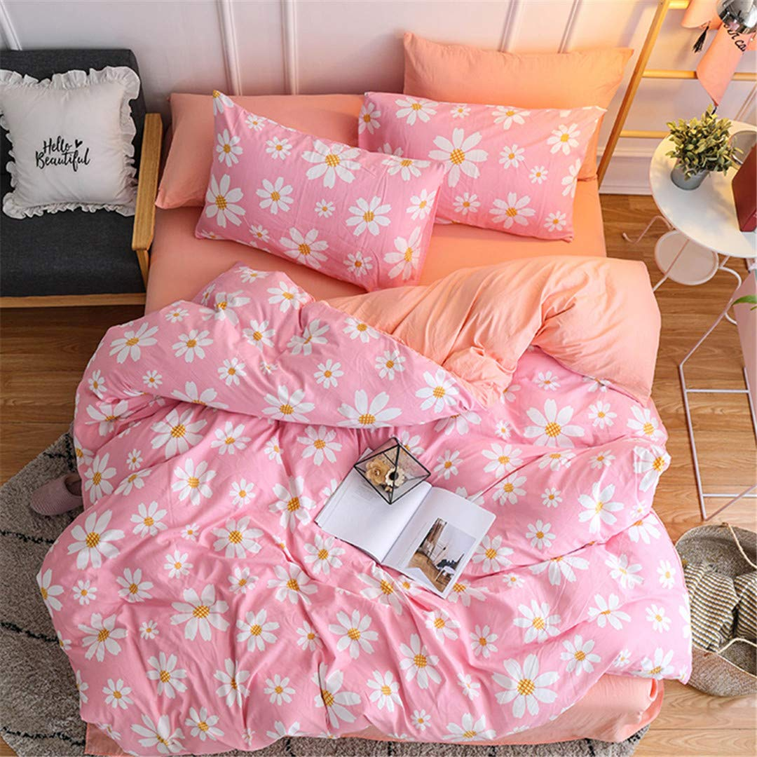 SHADEHAO Home Textile Girls Teen Bedding Set Purple Pink Solid Simple Female Adult Linen Duvet Cover Pillowcase Bed Sheet Double 13 Twin 3Pcs Flat Bed Sheet