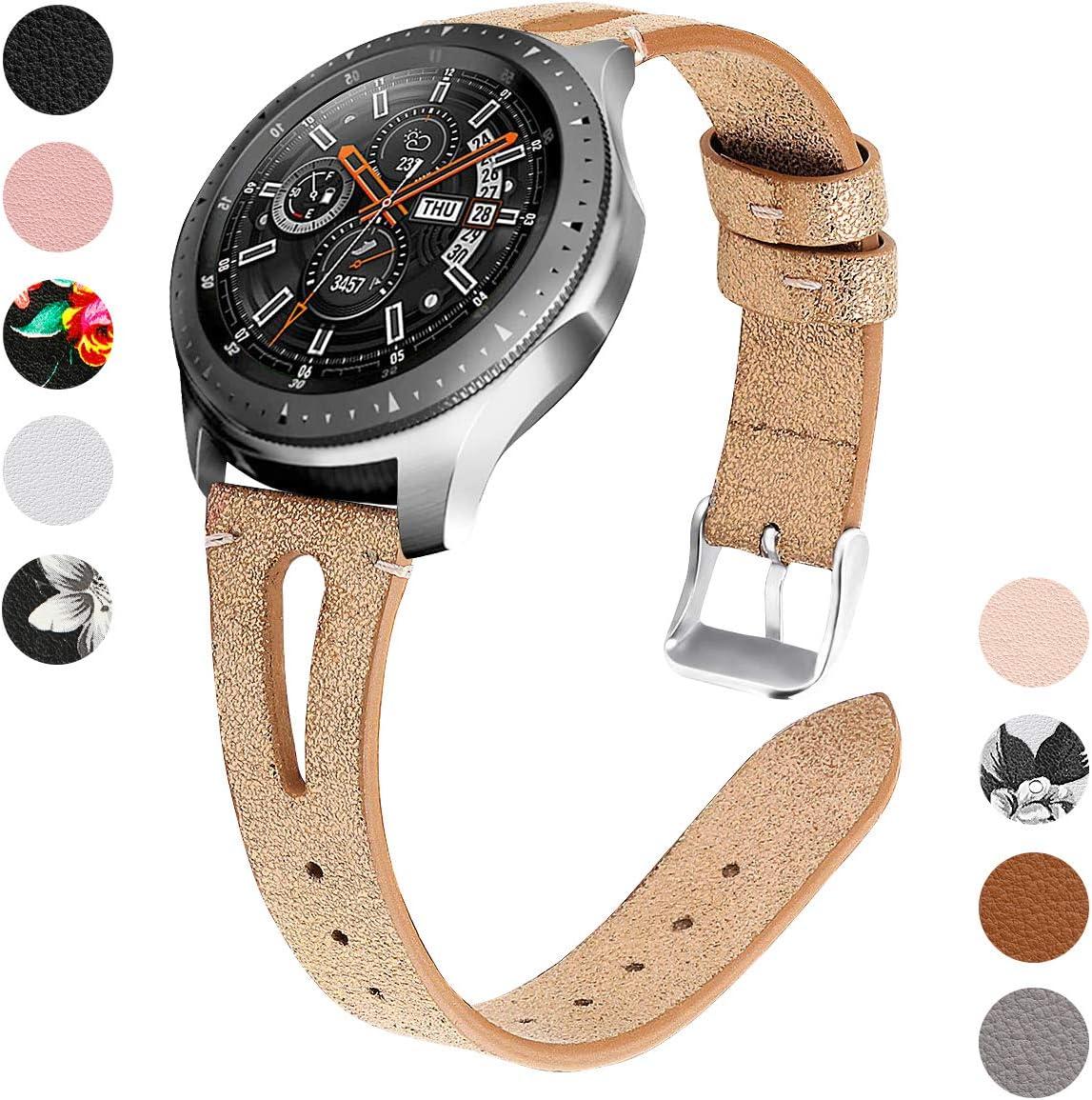 YSSNH Compatible con Correa Samsung Gear S3 22mm Pulsera de Repuesto de Cuero Banda de Reloj de Patrón Delgado para Galaxy Watch 46mm/ Gear S3 Frontier/S3 Classic para Mujer: Amazon.es: Electrónica