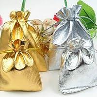Sungpunet Sacchetto di cordone con Coulisse di Spessore Sacchetto dei monili del Regalo della Tasca del Partito di Cerimonia Nuziale Set Drawstring Bag 10 Pezzi (Oro)