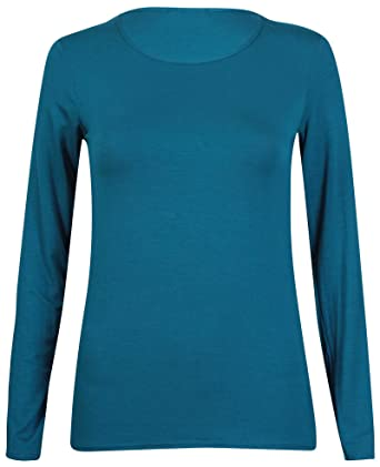 3cc477fbe New Ladies Plain Stretch Fit Long Sleeve Womens T-Shirt Round Neck Basic  Top Teal Size 8-10: Amazon.co.uk: Clothing