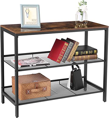 HOOBRO Console Table, Sofa Table with 2 Flat or Slant Adjustable Mesh Shelves, Hallway Table and Sideboard, for Entryway, Living Room, Corridor, Easy Assembly, Industrial, Rustic Brown