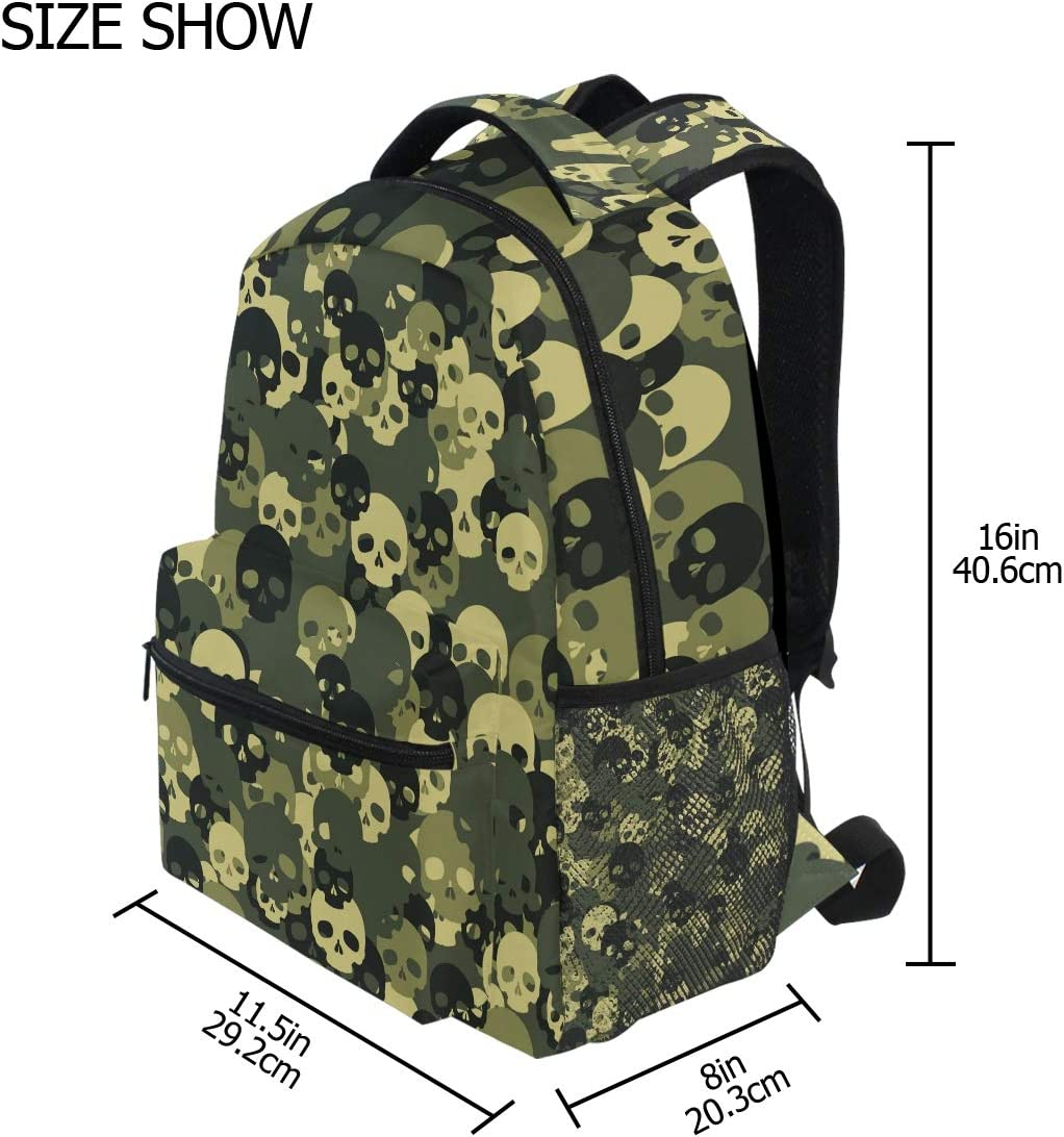 Backpack Fashion Laptop Daypack Camouflage Skull Funny Travel Backpack for Women Men Girl Boy Schoolbag College School Bag Canvas