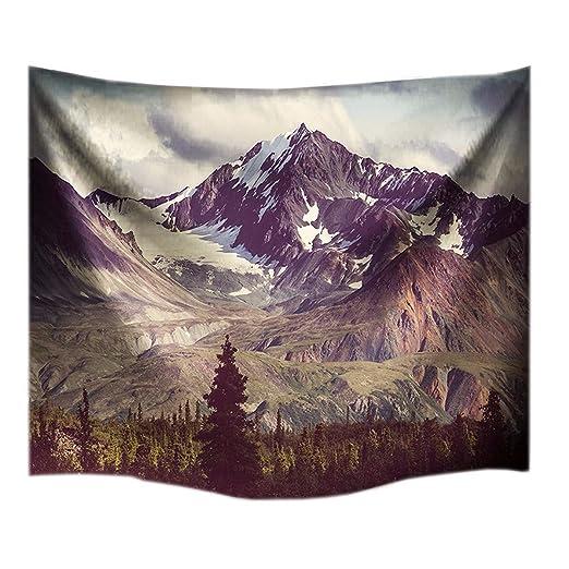A.Monamour Nevado Montaña Y Bosques Escénico Paño Pared Colgante Tapiz Playa Manta Estera De Yoga