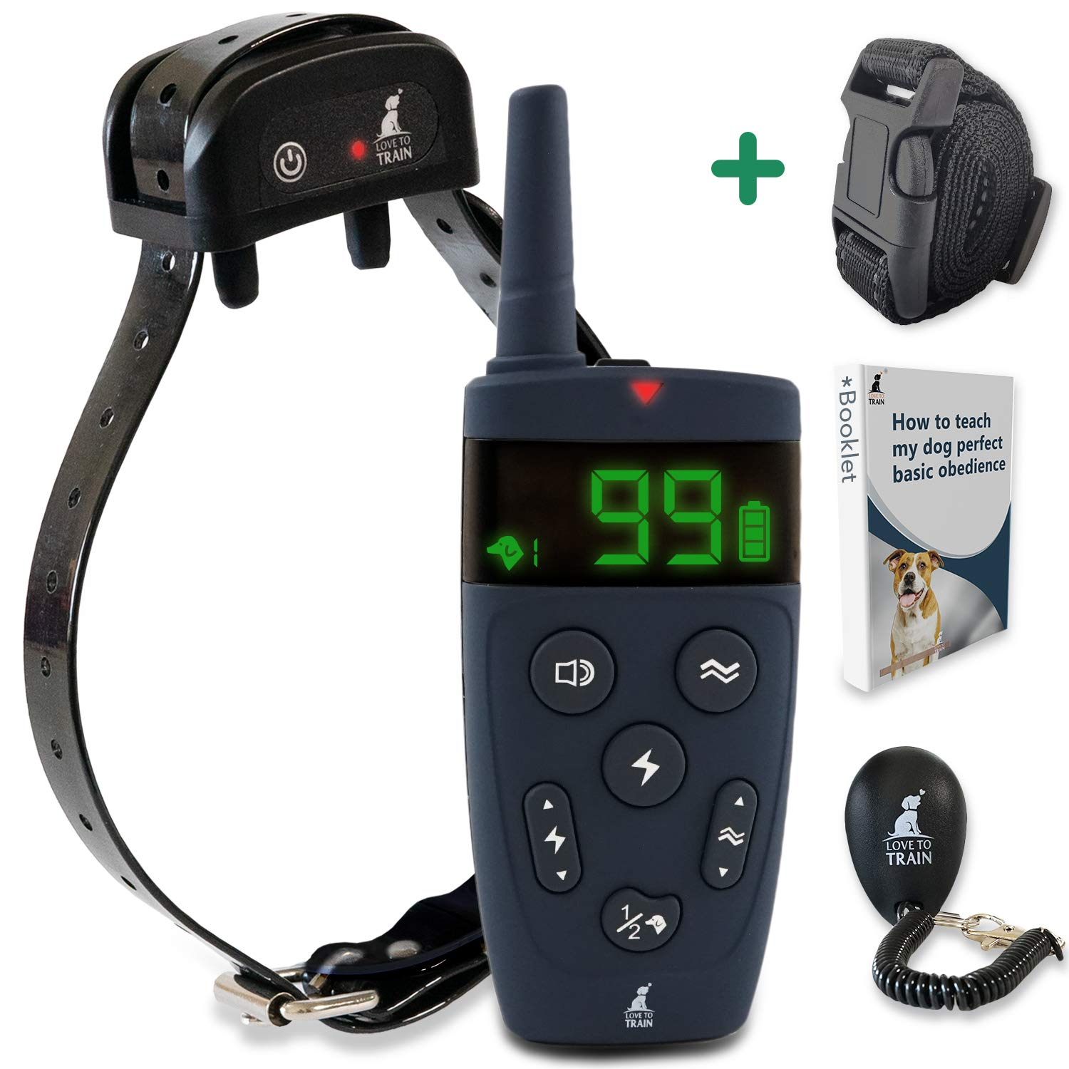 Love To Train Dog Training Collar with Remote 1600 Long-Range Electric Training Collar for Small, Medium, and Large Dogs Waterproof Dog Collar for All Breeds