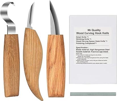 Juego de herramientas para tallar madera 12 piezas de cuchillo de tallar de madera y una piedra de afilar para madera frutas verduras