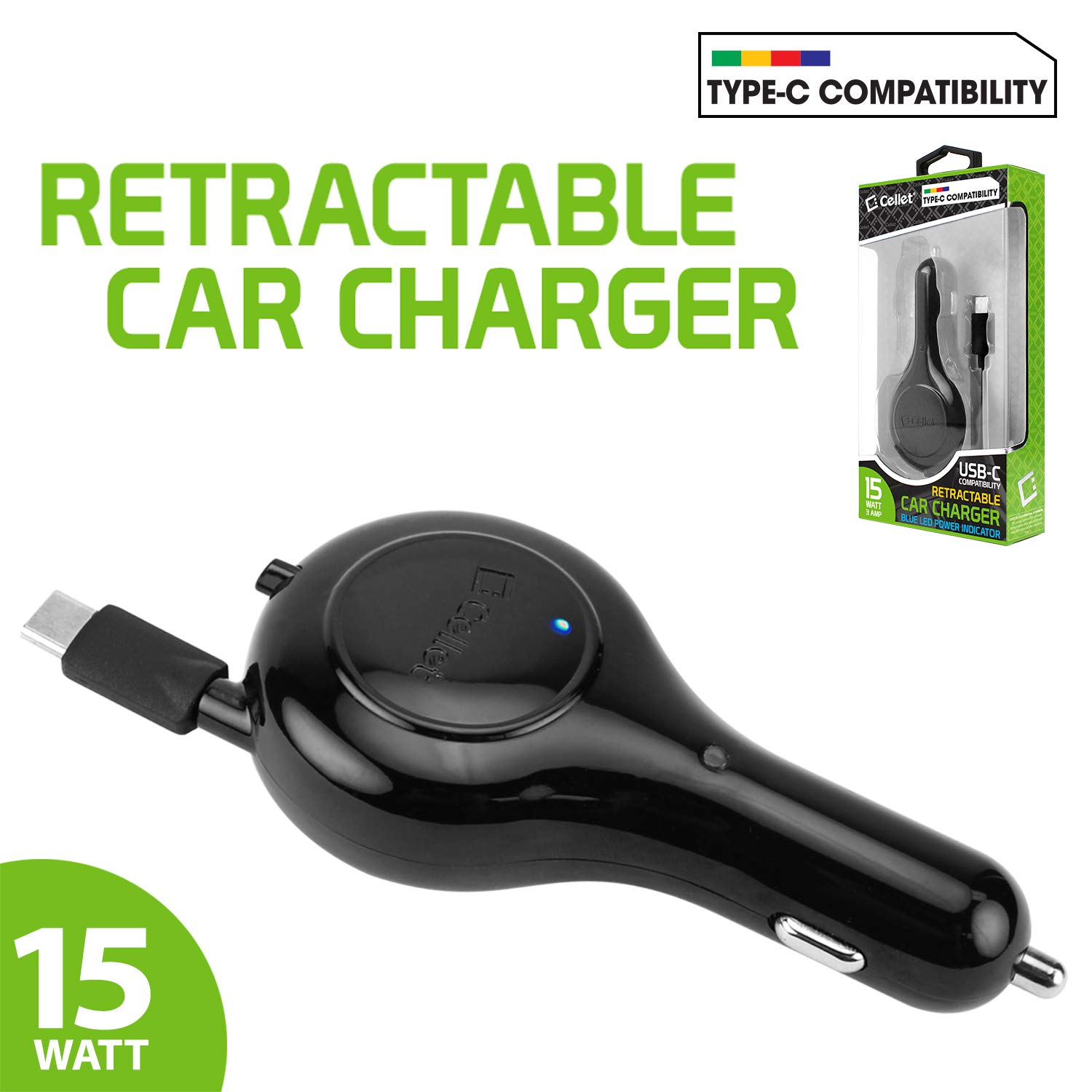 Blade Max 3// Max Blue Axon M Cellet 3Amp Fast Charging USB Type-C Retractable Car Vehicle Charger Compatible for ZTE Axon 7 Blade X,Blade X Max PUSBC30R/_WSTY4 Axon 7 Mini Blade Spark 15 Watt Blade V8 Pro