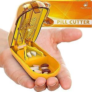Pill Cutter Splitter - Tablet Pill Splitter Cutter Chopper - Medication Divider Quarters