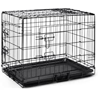 """24"""" Dog Cage Pet Crate Puppy Cat Foldable Metal Kennel Portable House 3 Doors S"""
