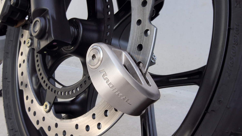 RADIKAL RK310S Antivol Moto Disque Double Fermeture /ø10 homologu/é SRA Acier Inoxydable Poli