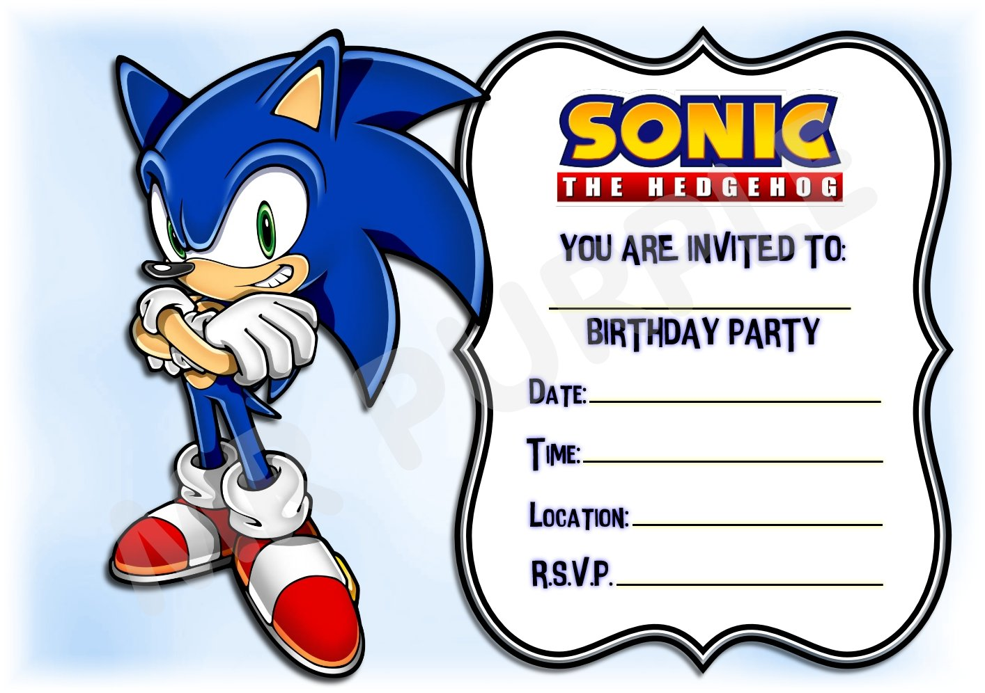 Sonic The Hedgehog Birthday Party Invites Landscape Frame Design Party Supplies Accessories Pack Of 12 A5 Invitations With Envelopes Buy Online In Chile Mrpurple Products In Chile