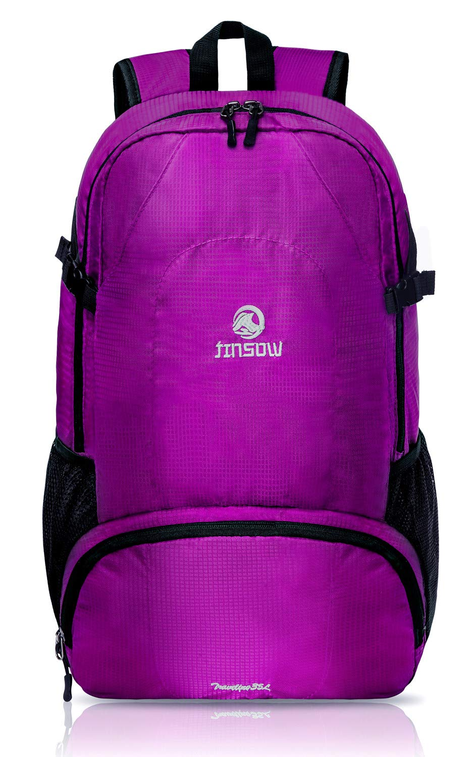 JINSOW 35L Lightweight Packable Hiking Backpack Daypack, Water Resistant Foldable Large Bags Travel Camping Outdoor Backpacks for Women Men Boys Girls Purple