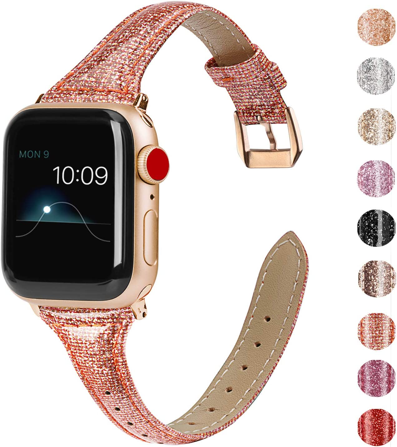 Wearlizer Deep Gold Thin Leather Compatible with Apple Watch Bands 42mm 44mm Womens for iWatch SE Slim Bling Wristband Smooth Glitter Strap (Gold Clasp) for Series 6 5 4 3 2 1-Glistening Rose Gold