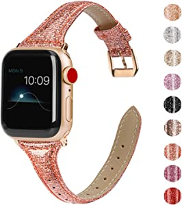 Wearlizer Thin Leather Compatible with Apple Watch Deep Gold Bands 38mm 40mm Womens for iWatch SE Slim Bling Wristband Smooth Glitter Strap (Gold Clasp) for Series 6 5 4 3 2 1-Glistening Rose Gold