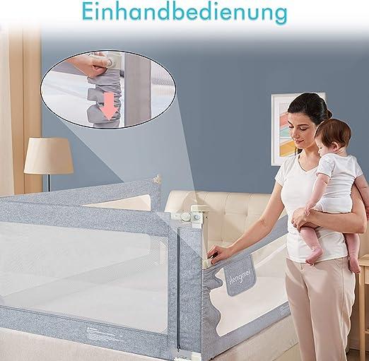 HENGMEI Bettgitter Bettschutzgitter Kinderbettgitter 180cm Babybettgitter Rausfallschutz h/öhenverstellbar f/ür Babys und Kinder