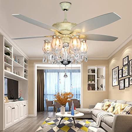 Crystal Ceiling Fan 52 Modern Luxury Chandelier Fan with Remote Timer Function 5 Reversible Acrylic Blades 4780cfm Airflow, Indoor Ceiling Fan for Living Room Bedroom by Arkonfire