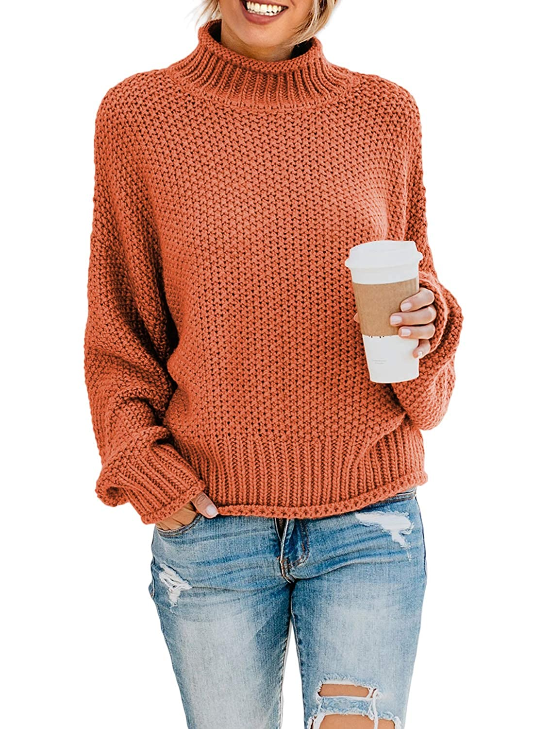 Dearlove Women Long Sleeve Turtleneck Chunky Cable Knit Sweaters Slit Pullover Tops