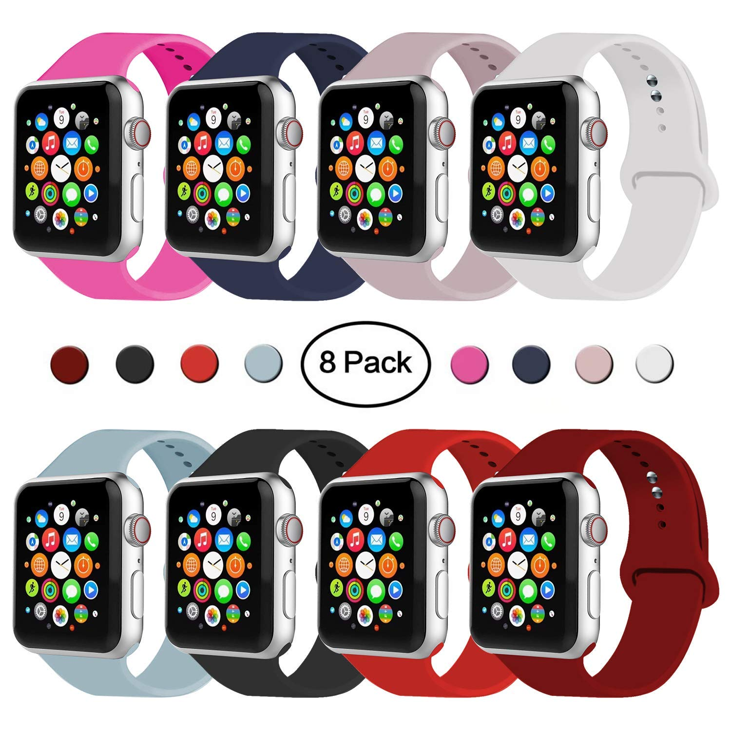 IYOU Sport Band Compatible with Watch Band 38MM 42MM 40MM 44MM, Soft Silicone Replacement Sport Strap Compatible with 2018 Watch Series 4/3/2/1 (8 Pack,38MM, S/M) by IYOU