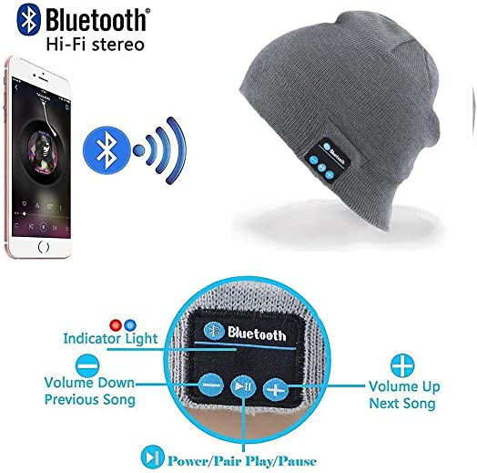 Wireless Bluetooth Beanie Hat Headphone by QScollection – Unisex Winter Music Knit Hat with Stereo Speaker and MIC Perfect for Outdoor Sports Men Women Teen Boys Girls Gray