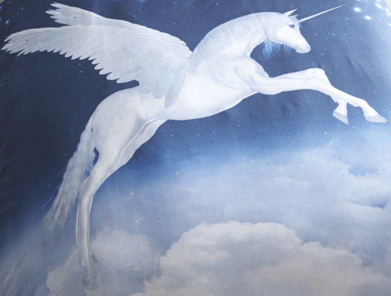 con Unicorno Colore: Blu in Policotone Eleanor James Copripiumino e 2/federe per Letto Matrimoniale