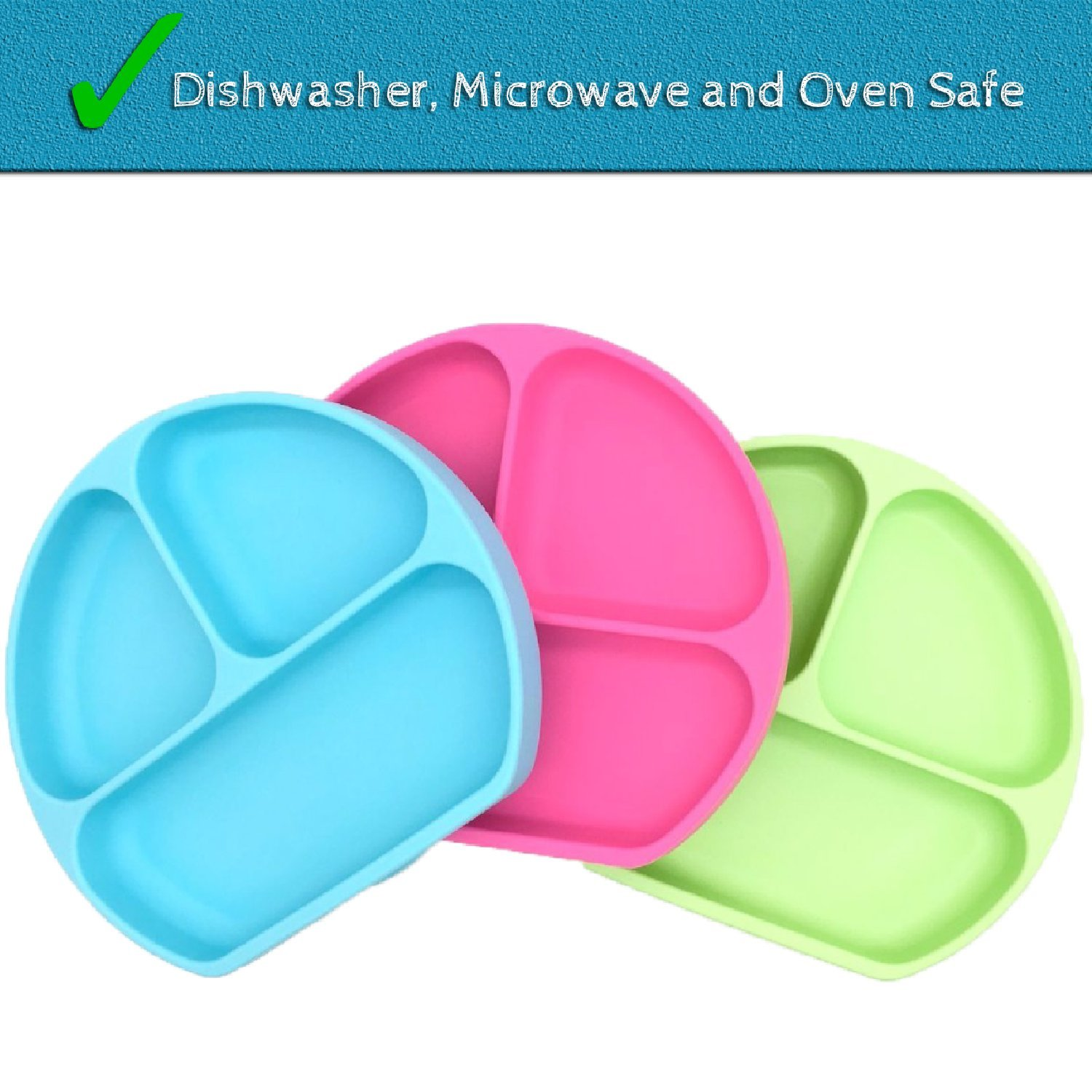 SiliKong Silicone Suction Plate for Toddlers, Fits Most Highchair Trays, BPA Free, Divided Baby Feeding Bowls Dishes for Kids (Green) by SiliKong (Image #4)