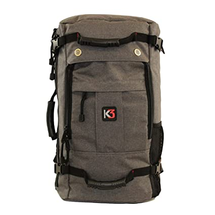 K3 Bravo Weatherproof Water Resistant Duffel Backpack Charcoal 40 Liter a7f9fbd530a11