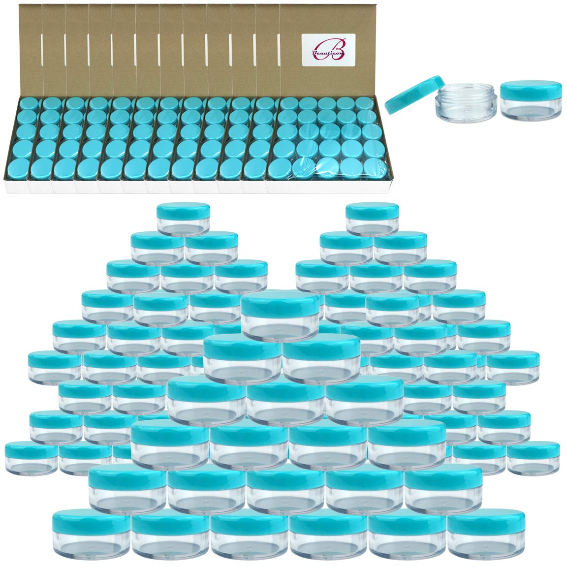 (Quantity: 2000 Pieces) Beauticom 5G/5ML Round Clear Jars with TEAL Sky Blue Lids for Scrubs, Oils, Toner, Salves, Creams, Lotions, Makeup Samples, Lip Balms - BPA Free