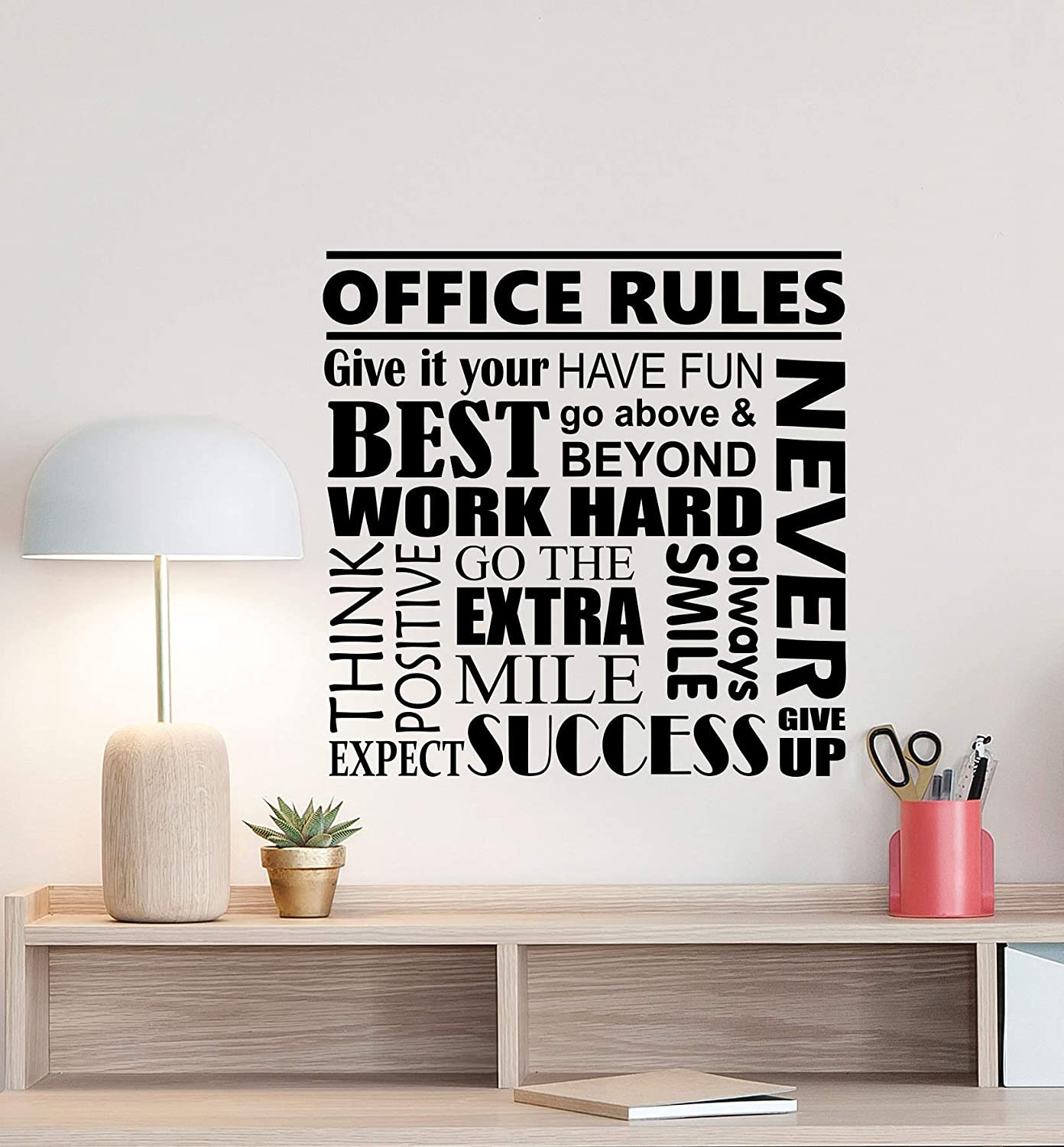 Amazon Com Office Rules Wall Decal Motivational Poster Office Sign Teamwork Success Quote Vinyl Sticker Business Decor Work Home Office Wall Made In Usa Fast Delivery Home Kitchen