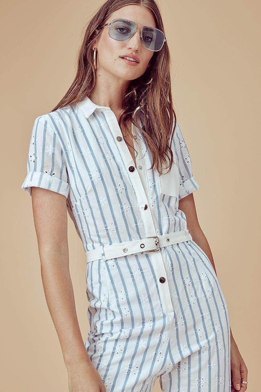 For Love /& Lemons Womens Hermosa Striped Eyelet Jumpsuit
