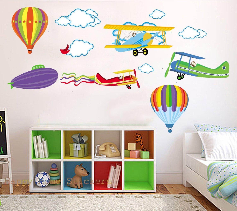 Animaux Mignons Fleurs Avion Stickers Muraux Amovible et Repositionnable Pour les Garçons / Murs de la Chambre des Enfants (001) DecoBay LSH-2323