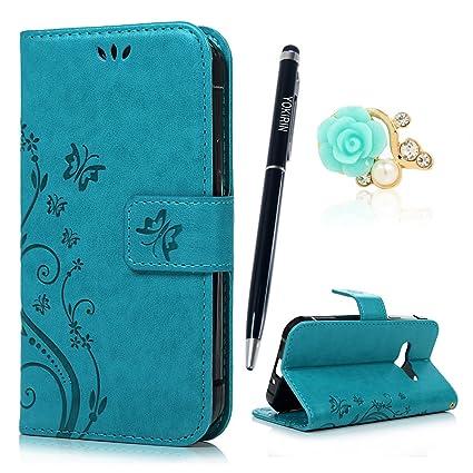 YOKIRIN Xcover 3 / G388 Wallet Case Schutzhülle für Samsung Galaxy Xcover 3 / G388 (4,5 Zoll) Schmetterling Hülle Zubehör Etu