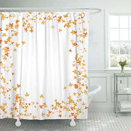 Emvency Fabric Shower Curtain Curtains With Hooks Orange Autumn Fall Leaves Red Border Maple October Scattered