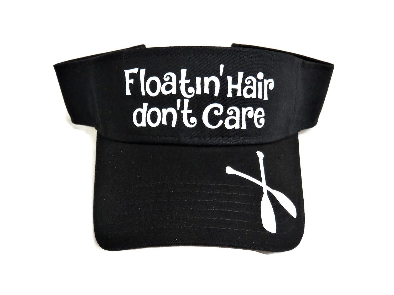White Glitter Floatin Hair Dont Care Black Cotton Sun Visor Boat River
