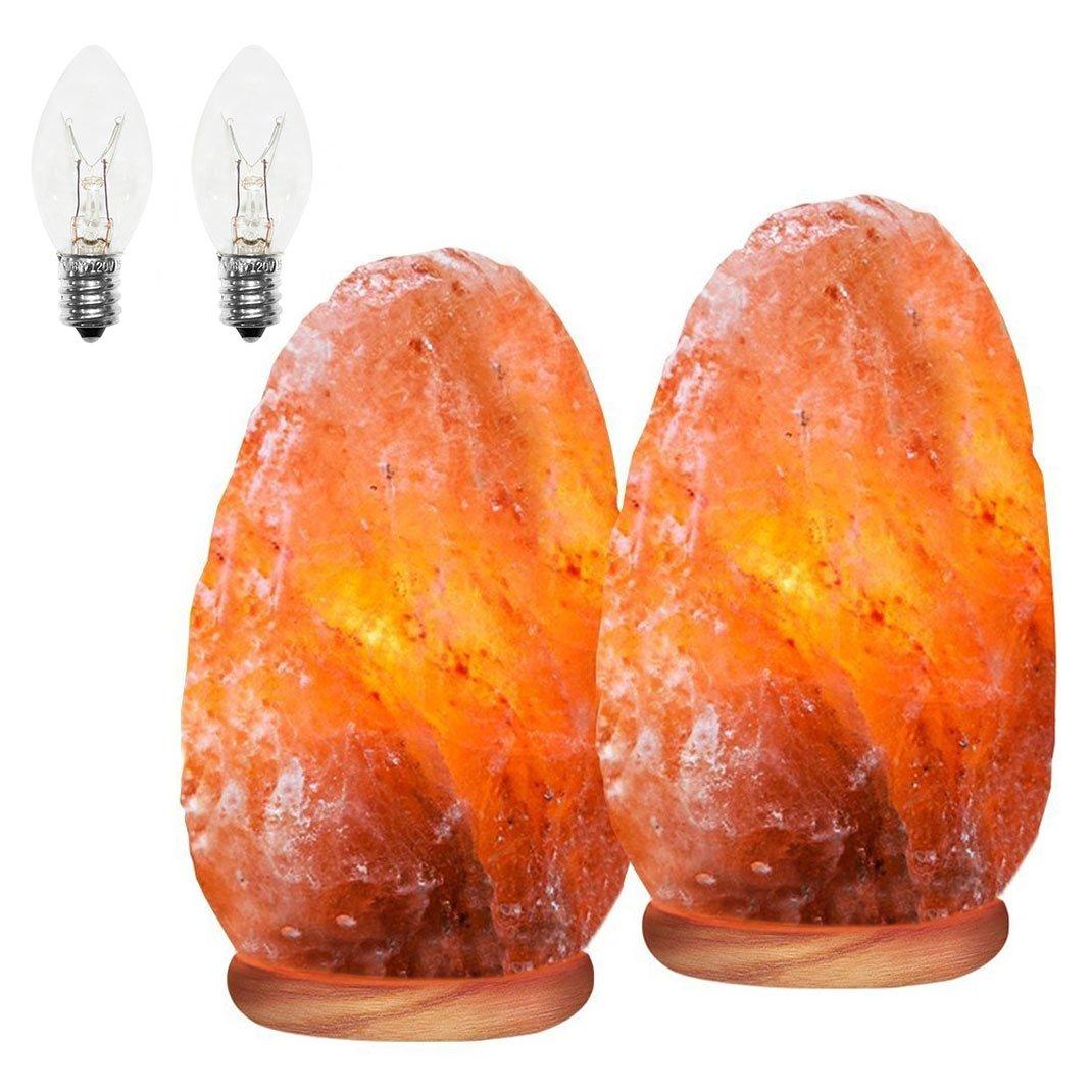 Himalayan Glow 1000B Natural Himalayan Salt Lamp. Hand Carved with Elegant Wood Base, Set of 2