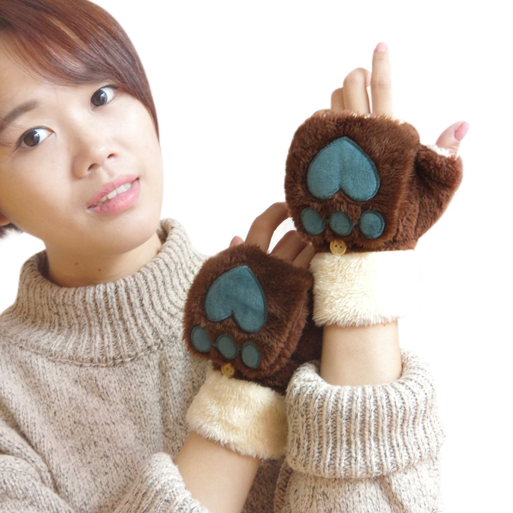 Cute Plush Flip Top fingerless Warm Gloves Bear Cat Paw Soft Winter Warmer Mittens