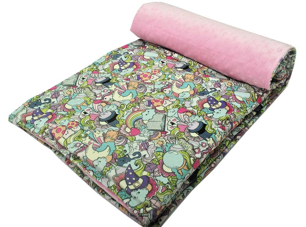 Weighted Blanket by Hiseeme For Children - From The Anxiety To Calm Down - Pink Zoo (41''x 60'', 07 lbs)