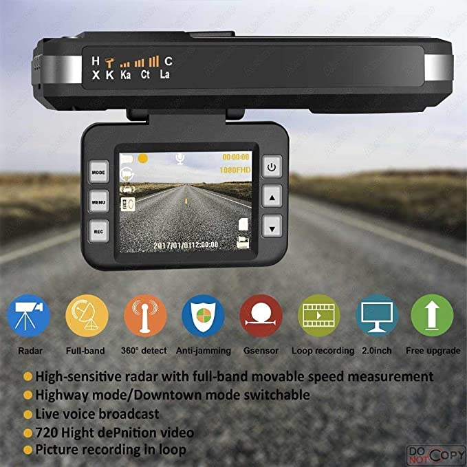 Amazon.com: PlatiniumTech 2018 Radar Laser Speed Detector, 2 in 1 HD Car Camera DVR Dash Cam Recorder: Car Electronics
