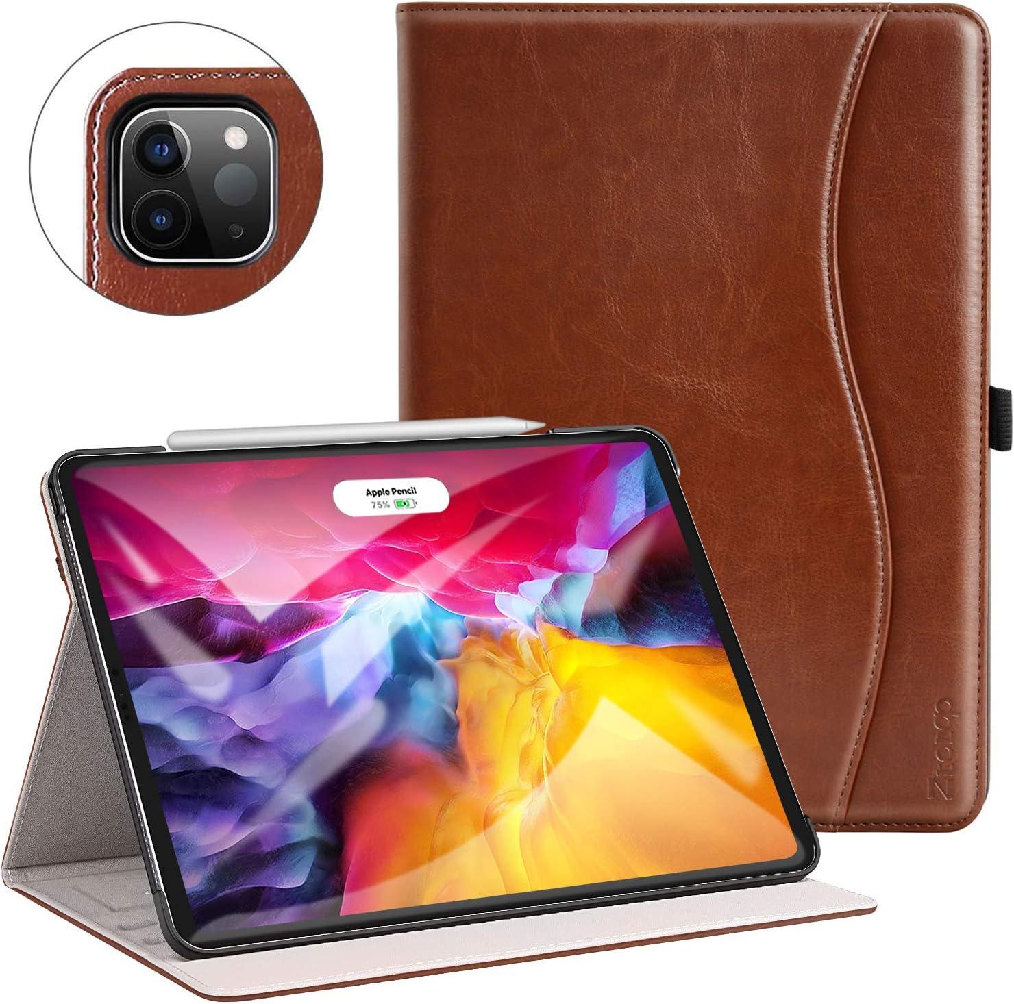 ZtotopCase Funda para iPad Pro 11 2020(2da generación) [Compatible con la Carga de Pencil],Carcasa de Cuero con Bolsillo y Soporte,Función de Auto-Sueño/Estela,Múltiples ángulos,Marrón