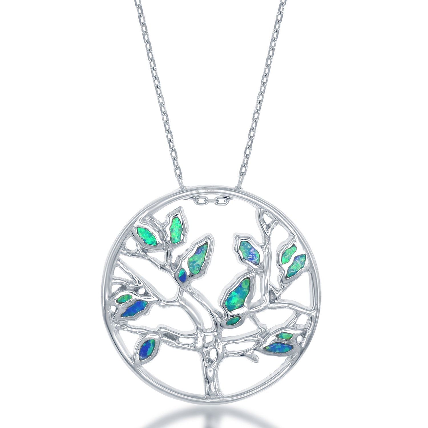 Beaux Bijoux Sterling Silver Created Blue Opal Circle Tree of Life Pendant with 18 Chain