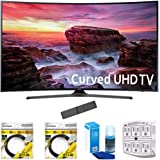 "Samsung 49"" Curved 4K Ultra HD Smart LED TV 2017 Model (UN49MU6500) with 2x 6ft High Speed HDMI Cable, Screen Cleaner for LED TVs & Stanley 6-Outlet Surge Adapter with Night Light"