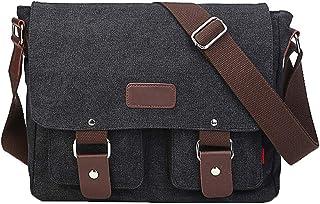 Menran Outdoor Casual Messenger Bag Groß Schultertasche Herren Aktentasche Leinwand Umhängetasche Mode Sport Tragetaschen (Braun)