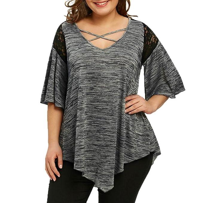 KIMODO Damen Bekleidung Große Größe T Shirt Blusen Top Damen Mode Spitze  Freizeithemd  Amazon.de  Bekleidung ba5fdf2f6f