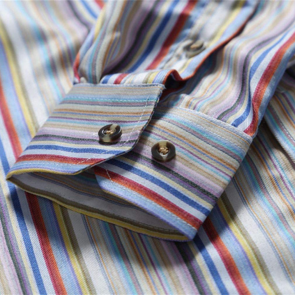 Paixpays Autumn and Winter Slim Shirt New Mens Casual Color Striped Long Sleeves