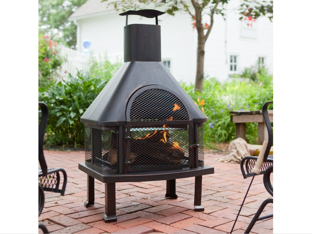 Outdoor Fireplace - Wood Burning Outdoor Fireplace with Smokestack; Gather Around the Fire in Your Backyard with This Modern Outdoor Fireplace by Red Ember